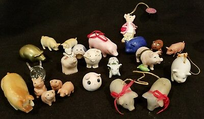 Vintage Lot 20+ Miniature Pig Figurines - Brass, Porcelain, Clay, Pottery, Wood,