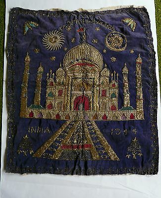Antique Indian embroidery dated 1944, War souvenir Taj Mahal metallic on velvet
