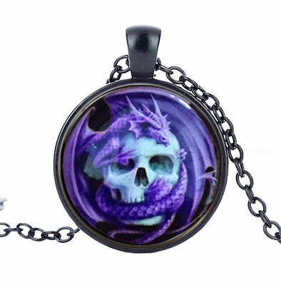 VIOLET PURPLE DRAGON WITH SKULL GOTH BLACK CHAIN MYSTIC glass necklace pendant