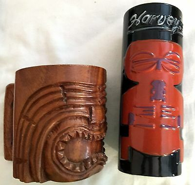 Vtg 2 bar glasses Harvey's Lake Tahoe Black Sneaky Tiki Mug + wood Hawaiian mug