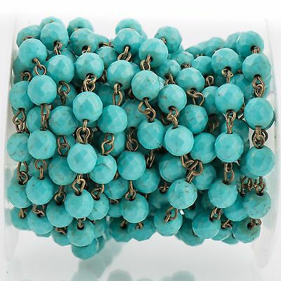 3ft TURQUOISE BLUE Howlite Rosary Chain, bronze links, 8mm round facet fch0702a