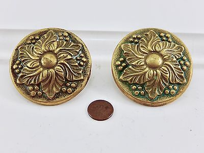 Set 2 Vintage Decorative Cast Brass Plumbing Fixture Knobs. Marked.