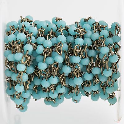 13ft Matte TURQUOISE BLUE Crystal Rondelle Rosary Chain, bronze, 4mm fch0700b
