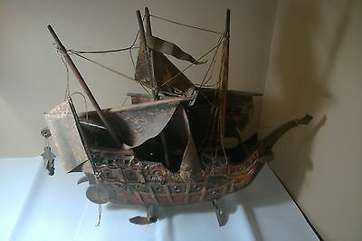 Antique Vintage Wooden Carved Painted Sail Ship With Canvas Sail's (Need's Repai