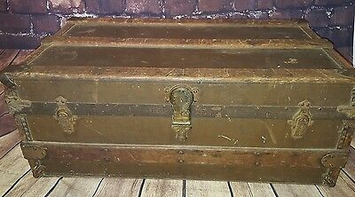 Antique Vintage Steamer Trunk Chest Coffee Table Blanket Toy Box Flat Top