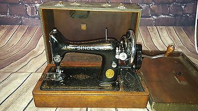 Vintage Antique Singer 99K Hand Crank Sewing Machine With Box Cover Industrial