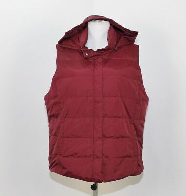Eileen Fisher Burgundy Quilted Hooded Zip Snap Front Down Vest XL H77