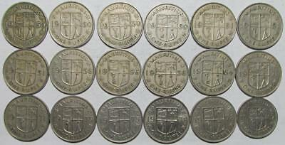 Mauritius, One Rupee Mixed Lot, 1950-1987, 18 Pieces, Copper-Nickel