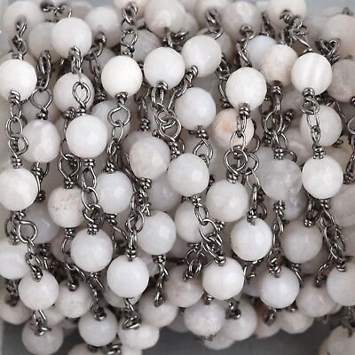 13ft WHITE LACE AGATE Gemstone Rosary Chain, gunmetal, 6mm double wrap, fch0704b