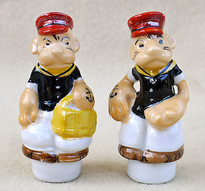 VTG 1930s Figural POPEYE Salt and Pepper From Condiment Set Made in Japan NICE!