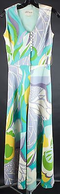 VTG 60s Psychedelic Jumpsuit by Ala Casa w/ Palazzo-Style Pant Legs #1161 1960s