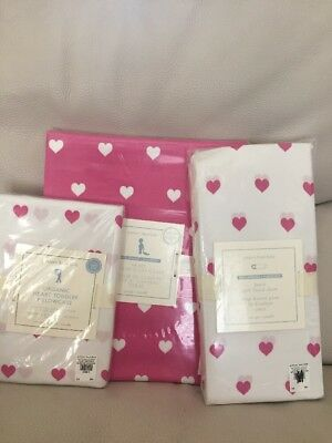 Pottery Barn Kids Bright Pink HEART Toddler Duvet/Fitted Sheet/Pillowcase Crib
