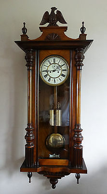 Antique Victorian Weight Driven Wall Clock Vienna Regulator Thomas Haller c1890