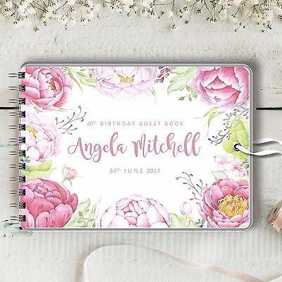 Personalised Birthday Guest Book, Pink Peonies, Blank Message Book, 2 Sizes