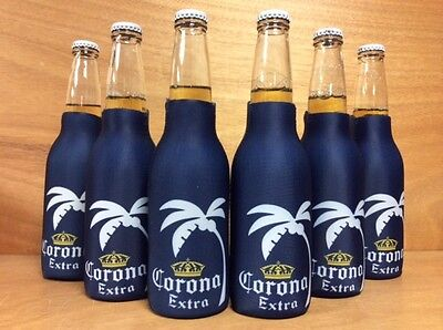 Corona Extra Beer Blue Palm Tree Zip Up Bottle Koozie Coozie - BRAND NEW - 6pk