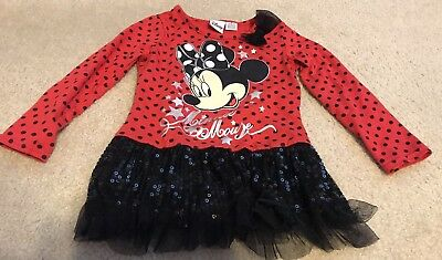 Disney Minnie Mouse Girls Size 5 Long Sleeve Shirt Red Black Sequin Tutu Top