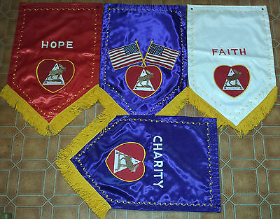 4 Vintage F.H.C. Moose Lodge Fringed Banners Hope, Faith, Charity
