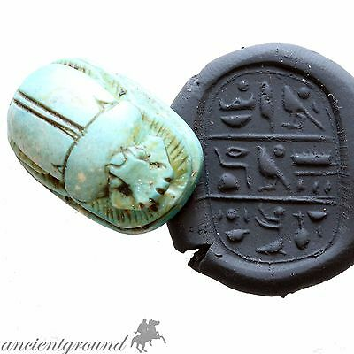 Museum Quality Circa 900 Bc Glazed Bead Seal Scarab