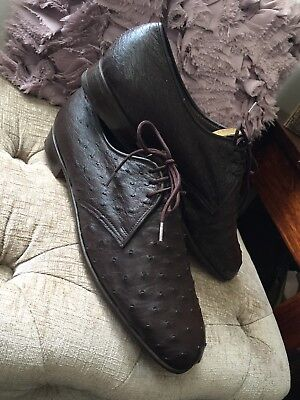 Vintage Mayer Hong Kong Ostrich Skin Leather Lace-Up HandMade Shoes size 9 Brown