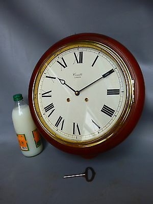 The Plymouth Mahogany Bell Strike Wall Clock By Comitti London * Serviced *