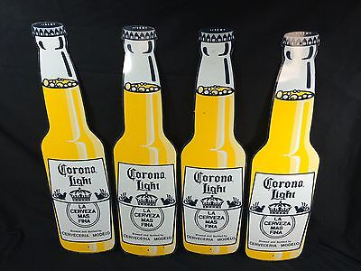 4 Corona Light Beer Bottle Signs Tin Metal Tiki Bar Beach Man Cave