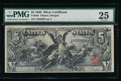 AC Fr 268 1896 $5 Silver Certificate PMG 25 ... Educational!!!