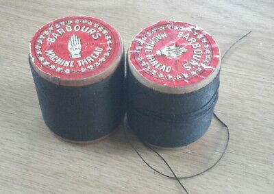 2 Vintage Barbour's machine Thread black ,wood spools ,3 cord no 40 2 ounce
