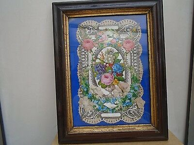 amazing framed victorian collage   must see period artwork  unusual wall hanging