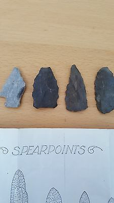 Flint Spear points with a guide of which period they could be from.