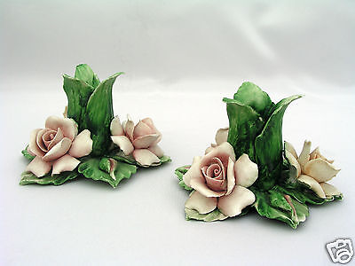 Pair Capodimonte Italian Candle Holders Candlesticks - Roses Design Porcelain