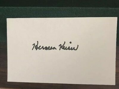 Herman Keiser Signed / Autographed Index Card / 3x5