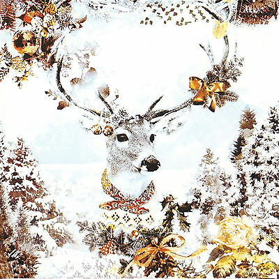 4x Paper Napkins for Decoupage Decopatch Craft Decorated Deer