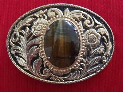 Western Style Metal Belt Buckle With Large Polished Stone