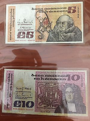 £5 & £10 irish banknotes issued in 1993-1987