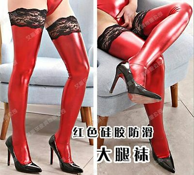 Wetlook Red Lace Top Stockings
