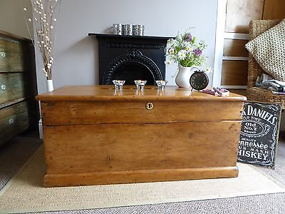 Antique Vintage Victorian Old Pine Chest/ Trunk /Blanket Box / Coffee Table