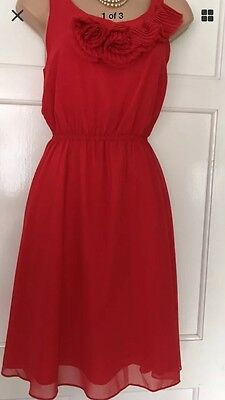 Monsoon Fusion Red Floaty Cocktail Prom Wedding Occasion Party Dress Size 8