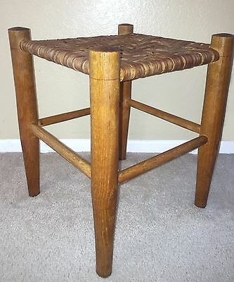 """VTG Mid-Century Sturdy Wooden Wood 16"""" Foot Stool Bench Woven Seat Top~EXC COND!"""