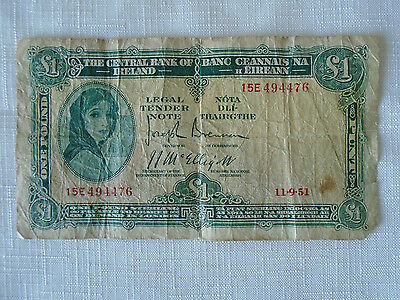 1951 The Central Bank Of Ireland 1 Pound Sterling LADY LAVERY