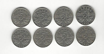 21. A Lot Of 8 1928 Canada Five Cent Coins