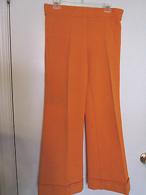Vintage Miss Holly Made In Japan Polyester Orange Bell Bottom Pants - 1970s S/M