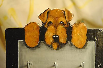 Original Painting~Airedale Terrier~Dog~Hand Made~Leash~Key~Hook~Whimsical~Wall