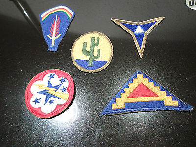 (Group Lot of 5) WW2 era PATCHES  ---- Great Bargain