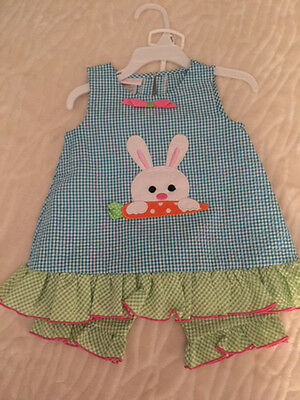 Bonnie Baby Girls 18 Months Seersucker Tunic & Capri Pants Outfit Set $32 NWT