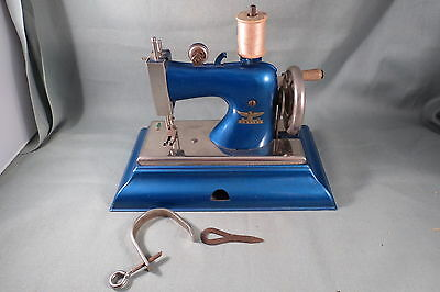 Vintage Casige Blue Toy Sewing Machine,TSM,Clamp,Tool,Germany,British Zone