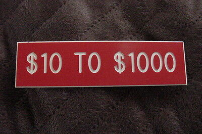 Vintage Casino Gaming Table Game Limit Sign $10 Minimum Bet to $1000 Max Bet