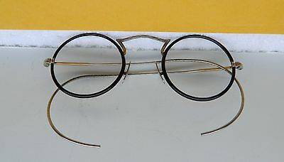 Antique  Eyeglasses Silver Wire & Black Frames  1940's  Fancy Round Ladies