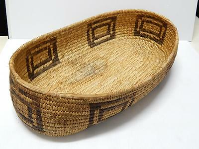 Giant Sized Antique Vintage Sw Arizona Papago Indian Oval Basket - Early + Old