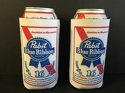 Pabst Blue Ribbon PBR Beer Koozie 16 oz Tall Can Cooler Coozie - 2 PK. NEW & F/S