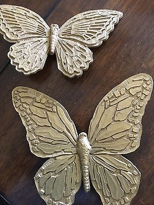 Home Interiors Vintage Gold Tone Butterflies Set T7040 and T7041 Homeco